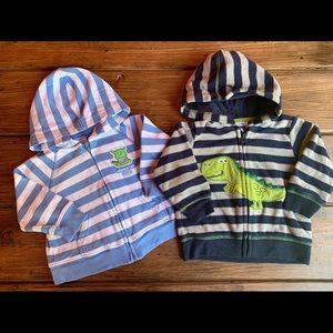 Lot of 2 Carters Dinosaur Hoodie Sweater
